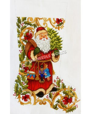 white stocking with Santa carrying bag and tree with drum, trumpet, nutcracker and doll hanging from belt and green holly with gold swirl decorative background