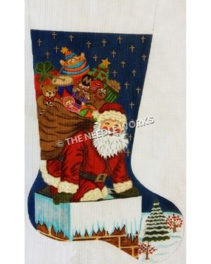 stocking with Santa climbing into chimney with full bag of toys