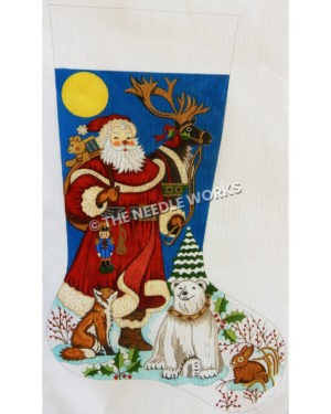 stocking with Santa holding reindeer by leash and fox, polar bear, and rabbit around his feet