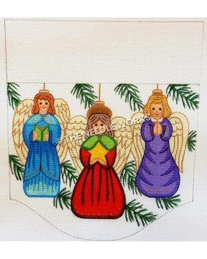 stocking top with three angels in blue, red, and purple dresses carrying book, star and praying hands on white background with pine leaves