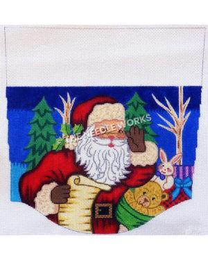 stocking top with Santa checking list and waving with bag of toys on dark blue background with trees