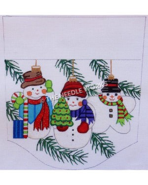 stocking top with three snowmen carrying candy cane, Christmas tree, and one in star shape with top hat on white background