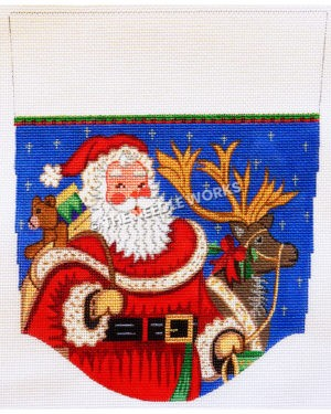 stocking top with Santa holding bag of toys and reindeer by leash on blue starry background