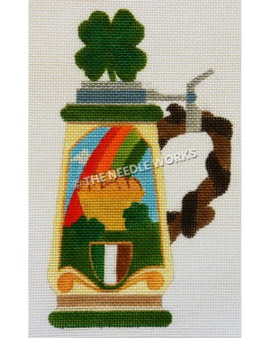 beer stein decorated with pot of gold at end of rainbow with Irish flag and shamrock on top