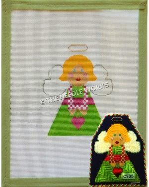blonde angel in green dress with pink and white plaid sleeves holding pink heart