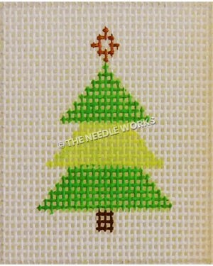 Chritmas tree in dark and lime green triangle sections and gold tree topper