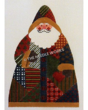 Santa wearing a patchwork suit and hat in red, green, gold, blue and white