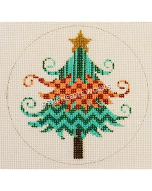 white ornament with turquoise and pink patterned Christmas tree and gold star