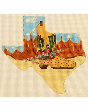 Texas shape with desert landscape and brown boot with cactus pattern