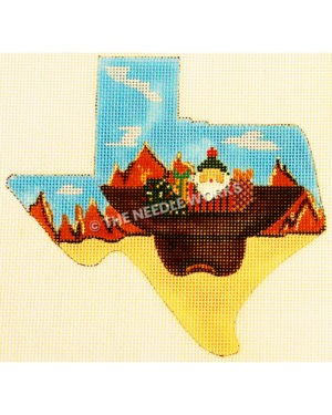Texas shape with desert landscape and cowboy hat upside down with Santa, tree and gifts inside