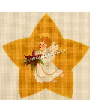 star with angel flying holding poinsettia