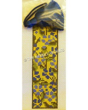 yellow bookmark with blue flowers and blue tassel