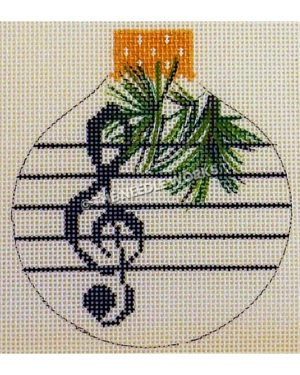 white round ornament with dark blue treble clef and music staff with pine leaves