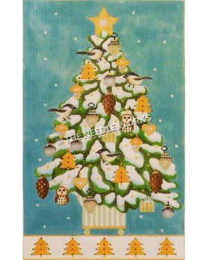 Christmas tree decorated with yellow ornaments, white birds, pine cones, and owls on blue background with snow falling and white bottom border with yellow trees