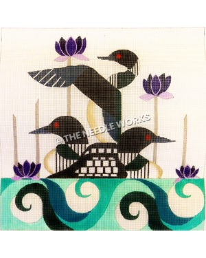three black and white swans with purple water lilies on green and white swirl water