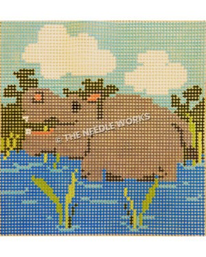 rhino in water with green bushes behind and blue sky with clouds