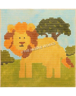 friendly lion on landscape with green grass, tree, and blue sky square