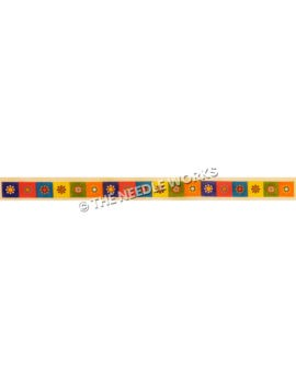 belt with colorful squares and flower in center of each square