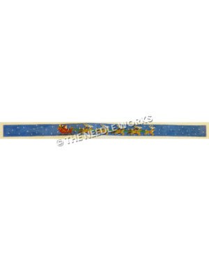blue belt with Santa in sleigh and reindeer pulling on starry sky background