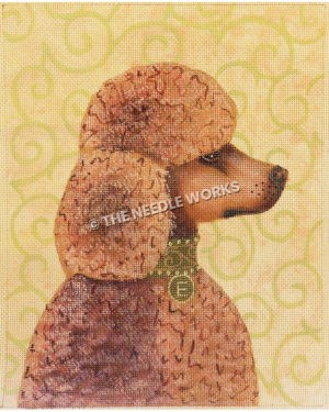 dark pink poodle in profile with E tag on collar on yellow background with green swirl pattern