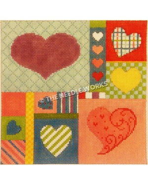square with patchwork pattern decorated with hearts in multiple colors