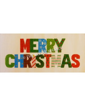 Merry Christmas in colorful patterns and colors including red, green and blue
