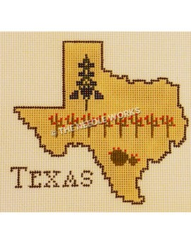 shape of Texas filled in yellow with bluebonnet and cactus and Texas written outside the state