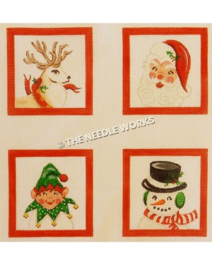 four squares with reindeer, Santa face, elf, and snowman on white background with red borders