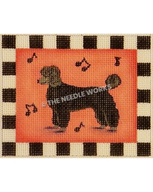 black poodle on pink rectangle with black music notes and black and white square border
