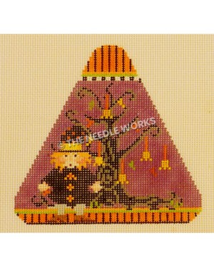 purple candy corn shape with witch and tree with broomsticks ornaments