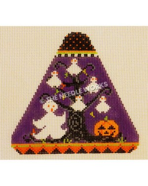 purple candy corn shape with white ghost and tree with ghost ornaments and jack-o-lanterns