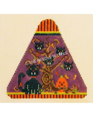 purple candy corn shape with black cat with tree and black cat head ornaments and jack-o-lantern