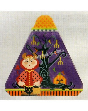 purple candy corn shape with child dressed as red devil, black tree with upside down pitchforks and jack-o-lantern