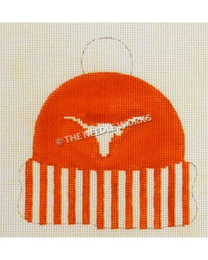 burnt orange winter hat with white longhorn and orange and white striped band