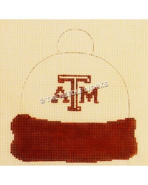 white winter hat with ATM in maroon and maroon band