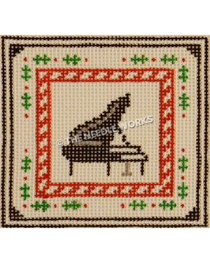 grand piano with red and white candy cane border and holly leaves border