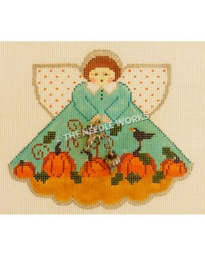 brunette angel in blue dress with pink pumpkins on bottom holding metal scarecrow and pumpkin trinkets