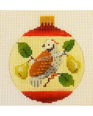 yellow and red ornament with partridge in pear tree