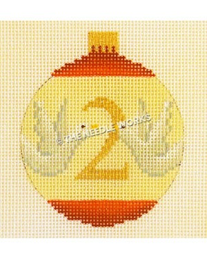 yellow and red ornament with two turtle doves and number 2 in gold
