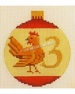 yellow and red ornament with French hen and number 3 in gold