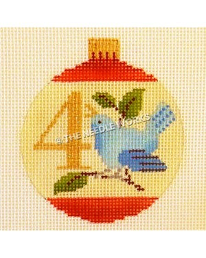 yellow and red ornament with blue bird calling on branch and number 4 in gold
