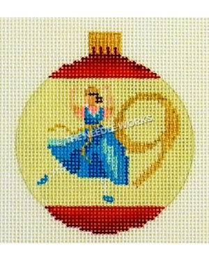 yellow and red ornament with lady dancing and number 9 in gold