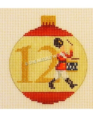 yellow and red ornament with drummer and 12 in gold