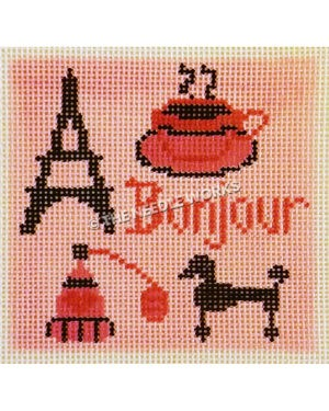 pink square with Bonjour in dark pink, perfume, Eiffel Tower, cup tea, and poodle