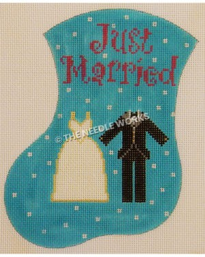 blue stocking with white polka dots and Just Married in purple and bridal gown and groom tux