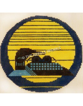 yellow ornament with dark blue stripes and black and blue swan