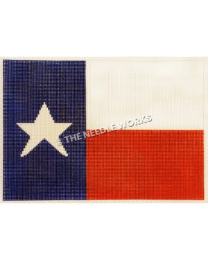 Texas flag with lone star on blue rectangle and white and red large stripes
