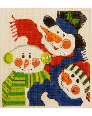 three snowmen heads wearing green, red and blue scarves with earmuffs, winter hat and top hat