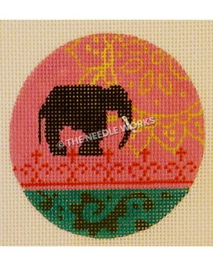 pink and green ornament with black elephant silhouette and yellow sunflower pattern