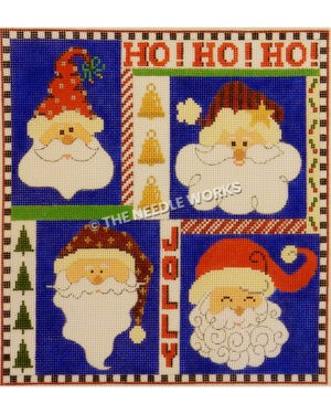 square with four Santas with different hats and Ho! Ho! Ho! and Jolly written in red with gold bells and green trees and black and white square border